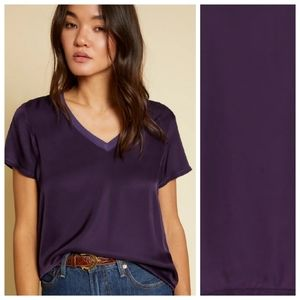 NATION LTD June Sateen Top in Amethyst